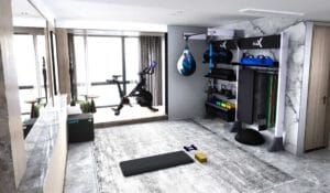 Home Gym in apartment living room features gym rax suspension and storage and peloton bike with area for yoga