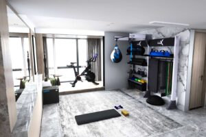 Home gym design for penthouse or apartment space using gym rax and peloton