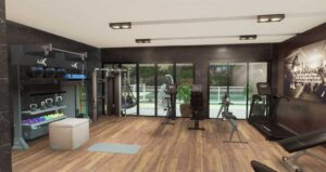 Home Gym overlooking a pool with gym rax functional training, gym storage, wood gym flooring, rower and bike