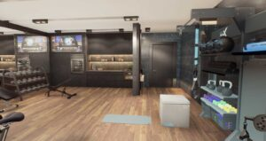 luxury home gym with dark wood gym flooring, black tile walls, gym rax suspension training and gym storage, dumbbell rack for weights, area for yoga and stretching, tv mounted on wall with beverage mini fridge