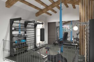home gym design 3d concept for loft gym